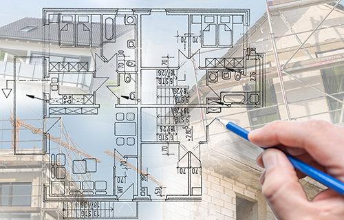 設計図の作成をしている画像